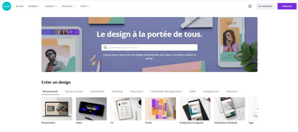 Page d'accueil Canva
