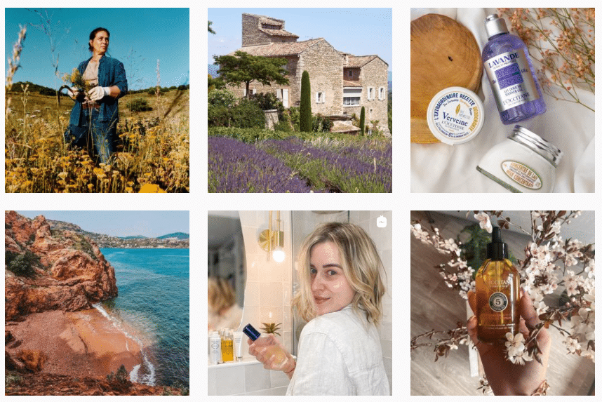 Exemple du feed Instagram de l'Occitane