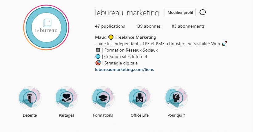 Capture écran profil Instagram Le Bureau